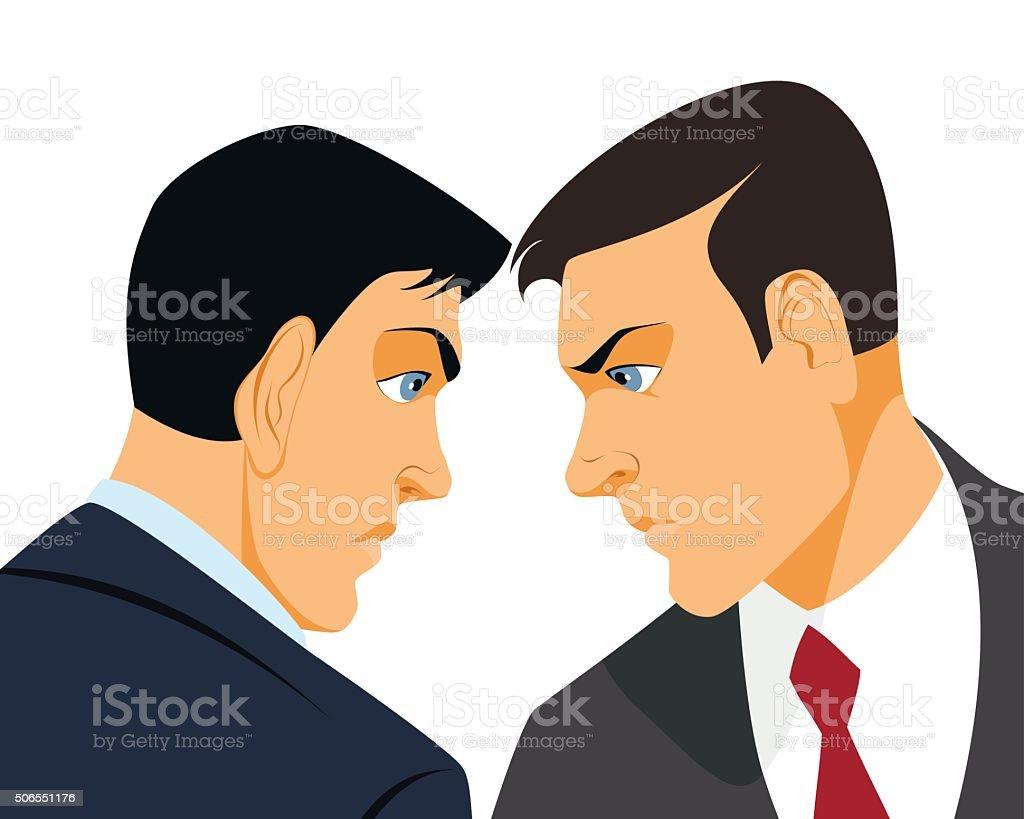 Two businessmen confrontation vector art illustration