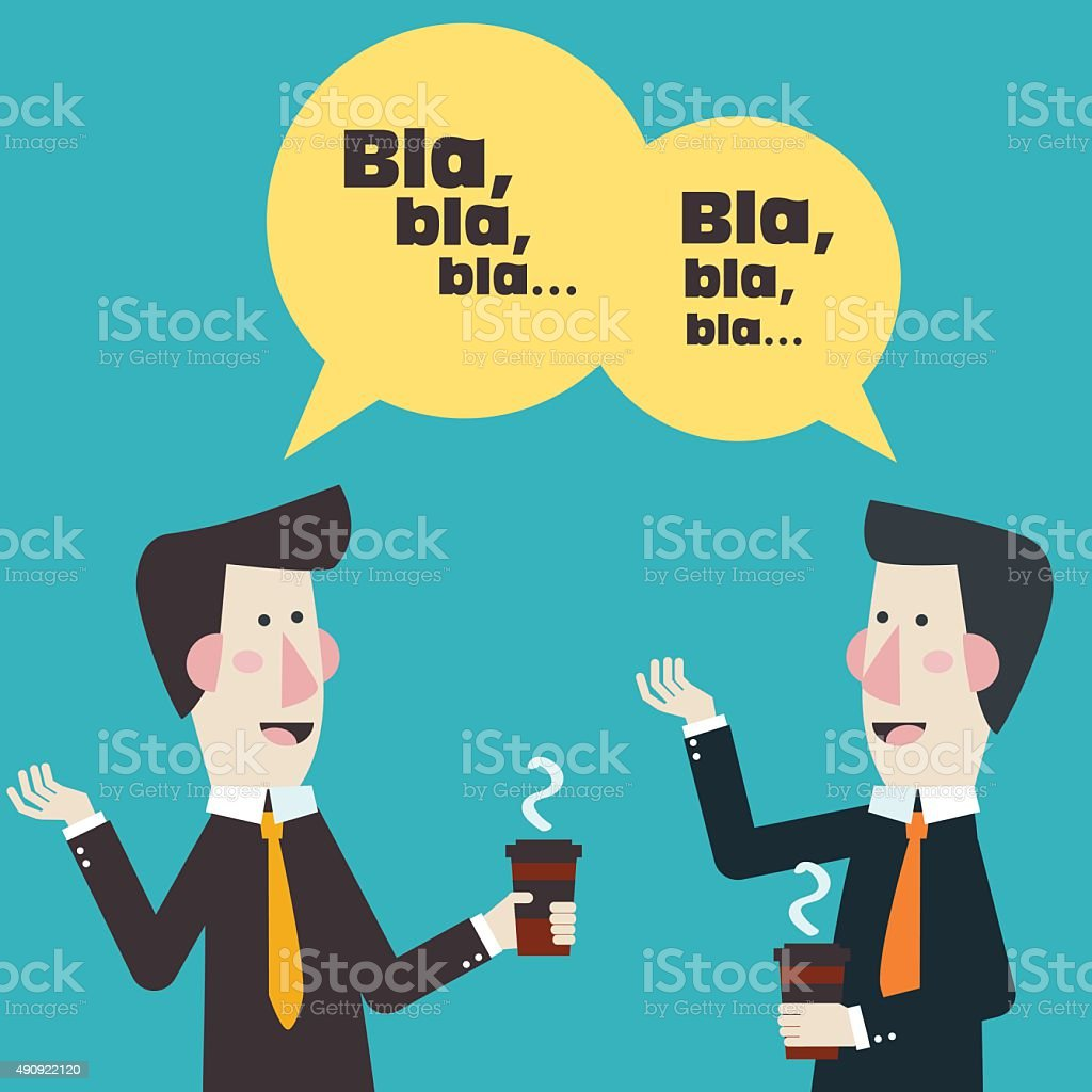 Two businessmen drinking coffee. Coffee time, break and relaxation concept vector art illustration