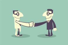 Two businessmen enter into a handshake agreement vector art illustration