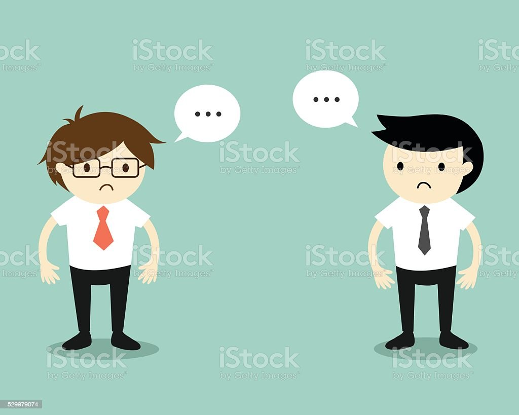 Two businessmen feeling awkward with each other. vector art illustration