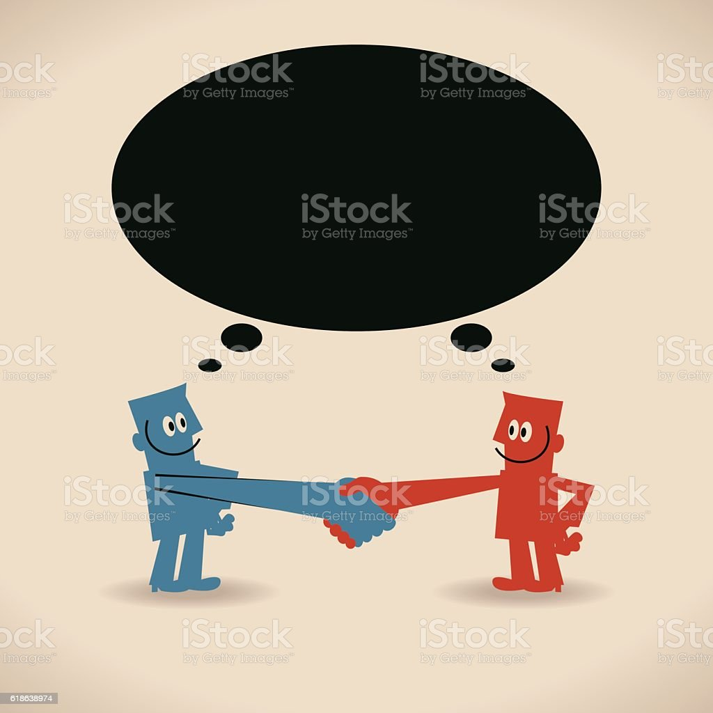 Two Businessmen meeting with a handshake and thought bubble vector art illustration