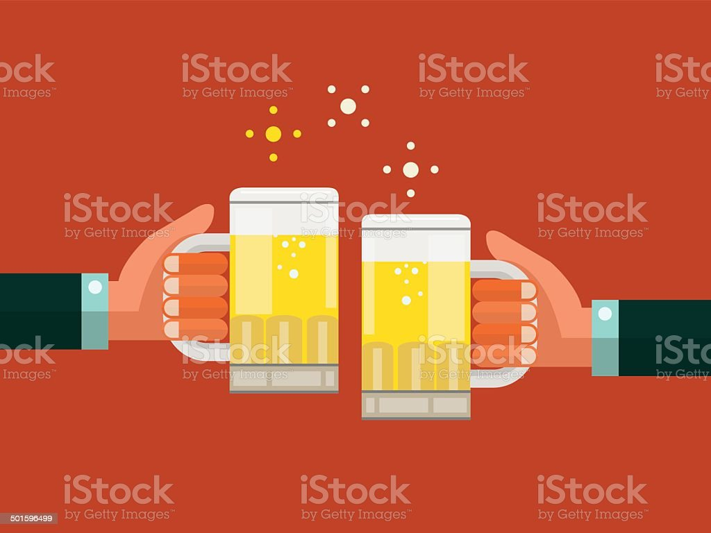 Two businessmen toasting glasses of beer. vector art illustration