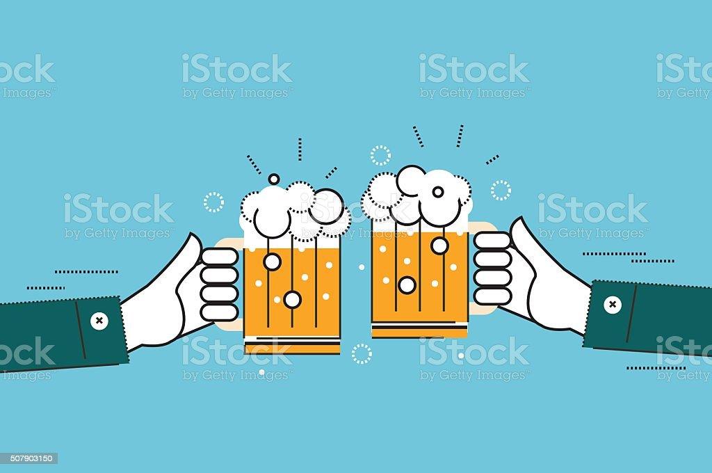Two businessmen toasting glasses of beer. vector art illustration
