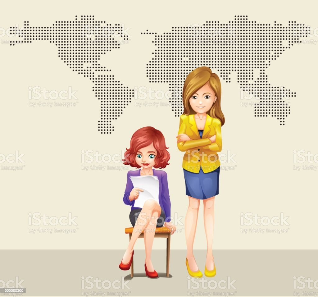 Two businesswomen and world map vector art illustration