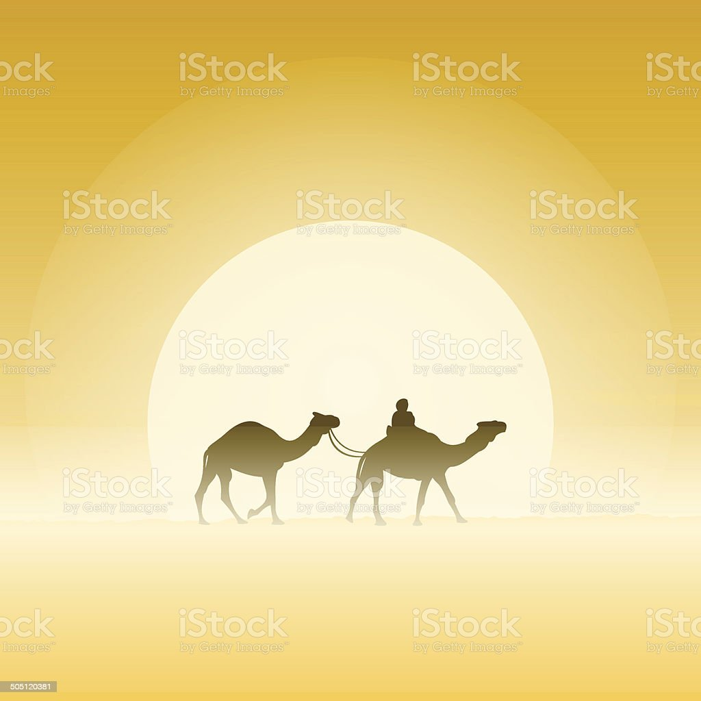 Two Camels and Sun vector art illustration