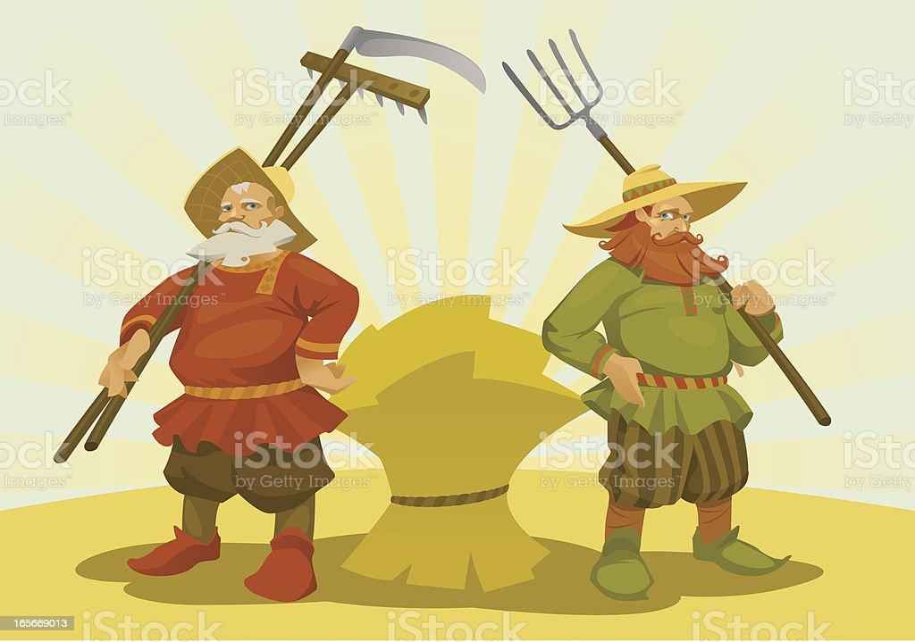 Two Cartoon Farmer vector art illustration