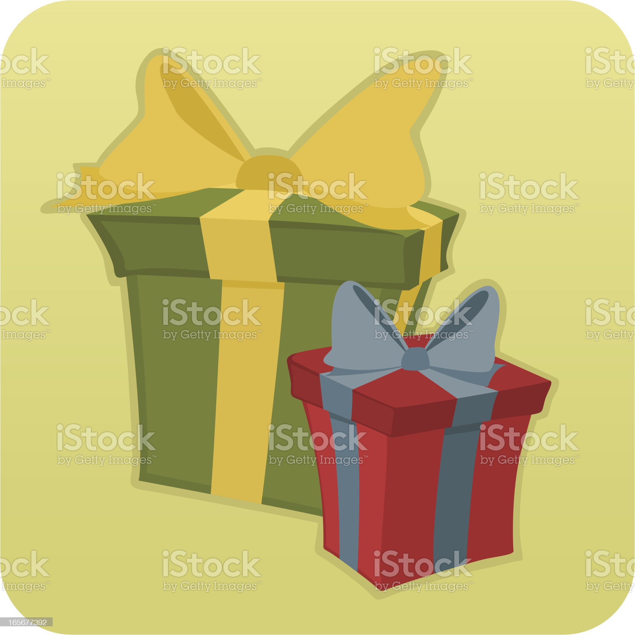 Two Cartoon Gift Boxes royalty-free stock vector art
