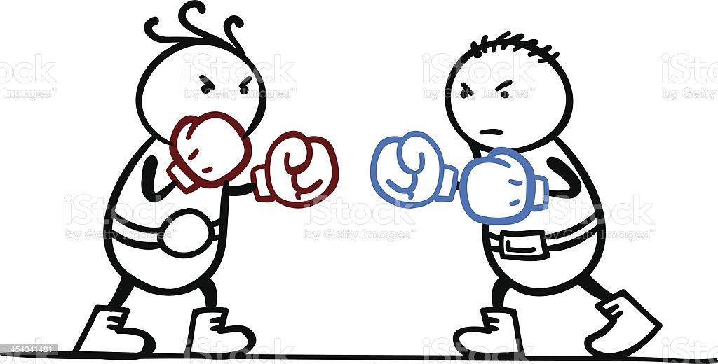 Two cartoon men practising boxing royalty-free stock vector art