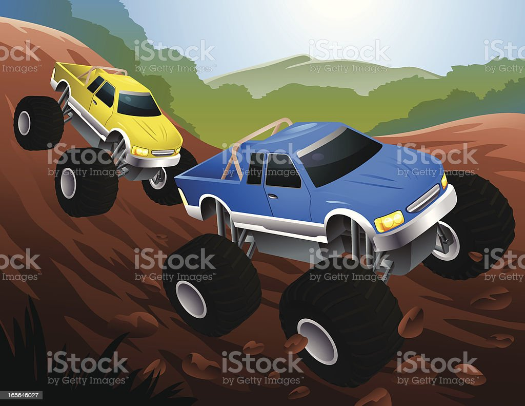 Two Cartoon Monster Trucks Racing on Dirt Track royalty-free stock vector art