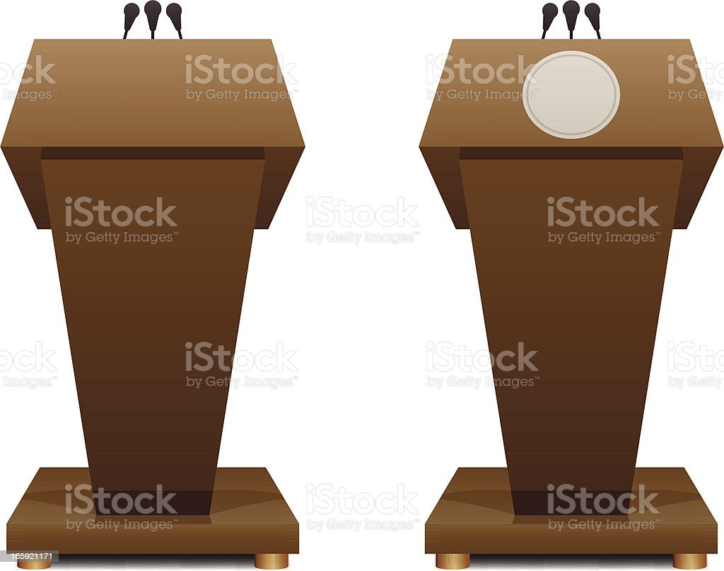 Two cartoon podiums next to each other vector art illustration