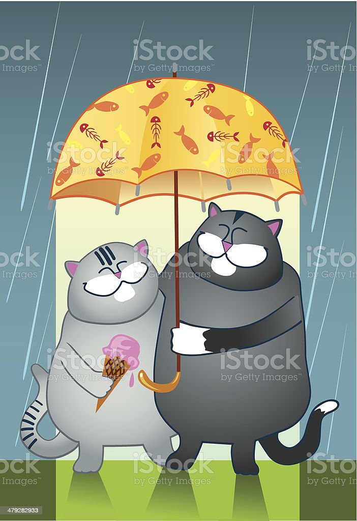 Two Cat friends - (BFF) vector art illustration