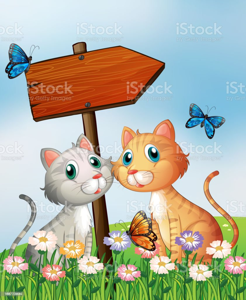 Two cats in front of an empty wooden arrow board royalty-free stock vector art