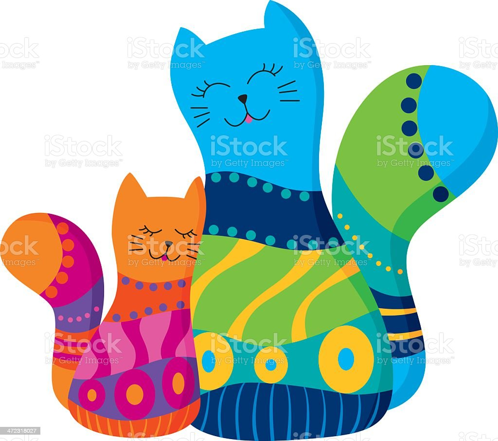 Two cats, mother and daughter royalty-free stock vector art