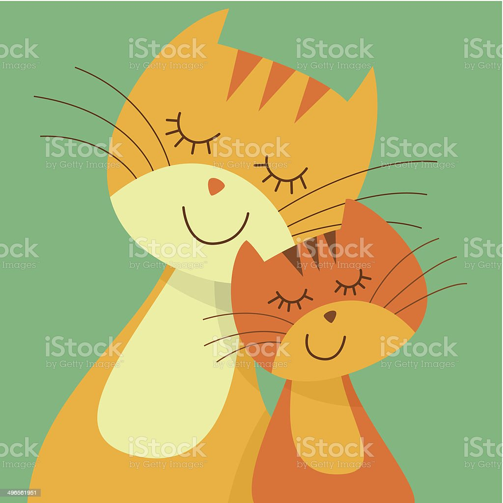 Two cats vector art illustration