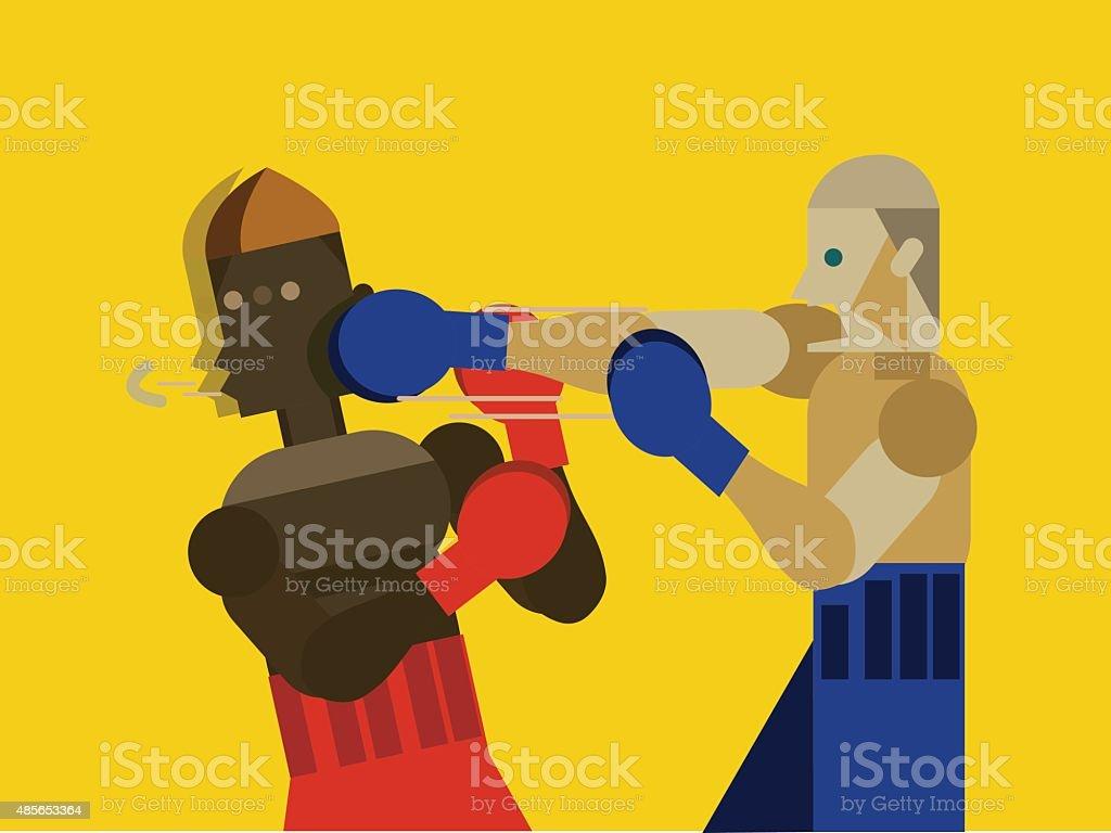 Two caucasian men exercising thai boxing. vector art illustration