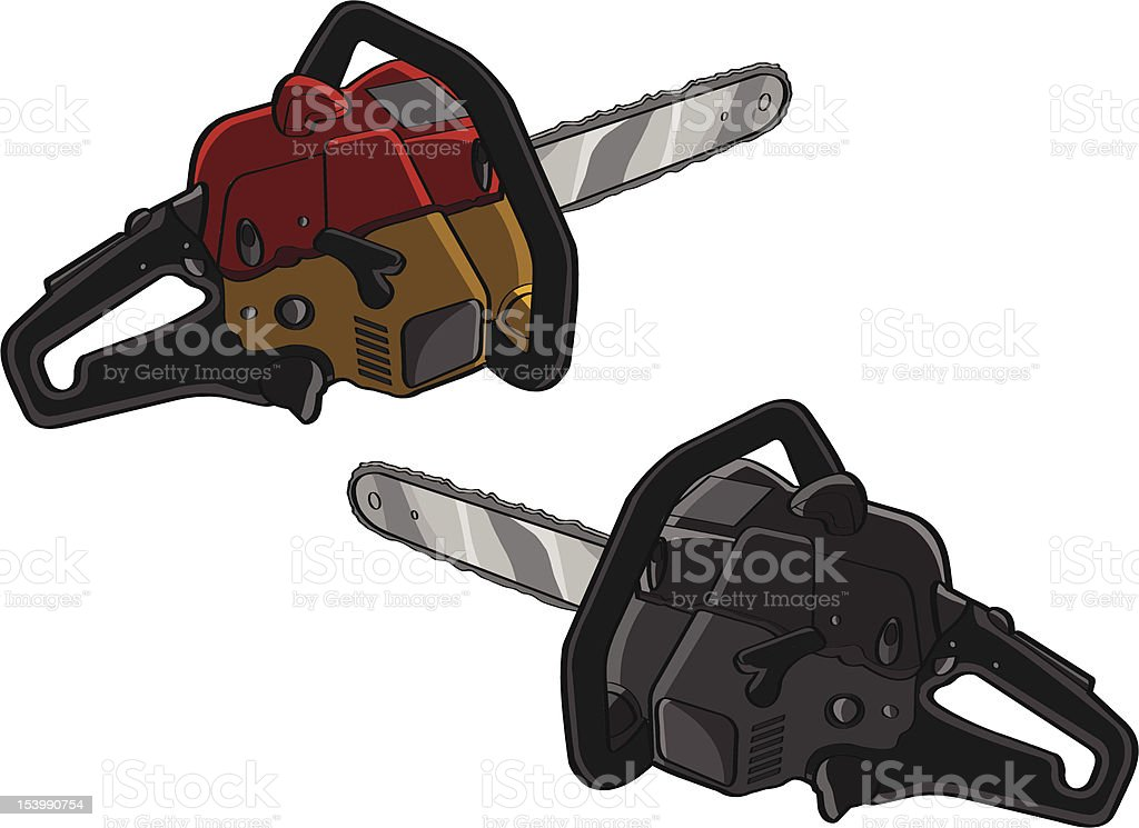 Two chainsaws royalty-free stock vector art