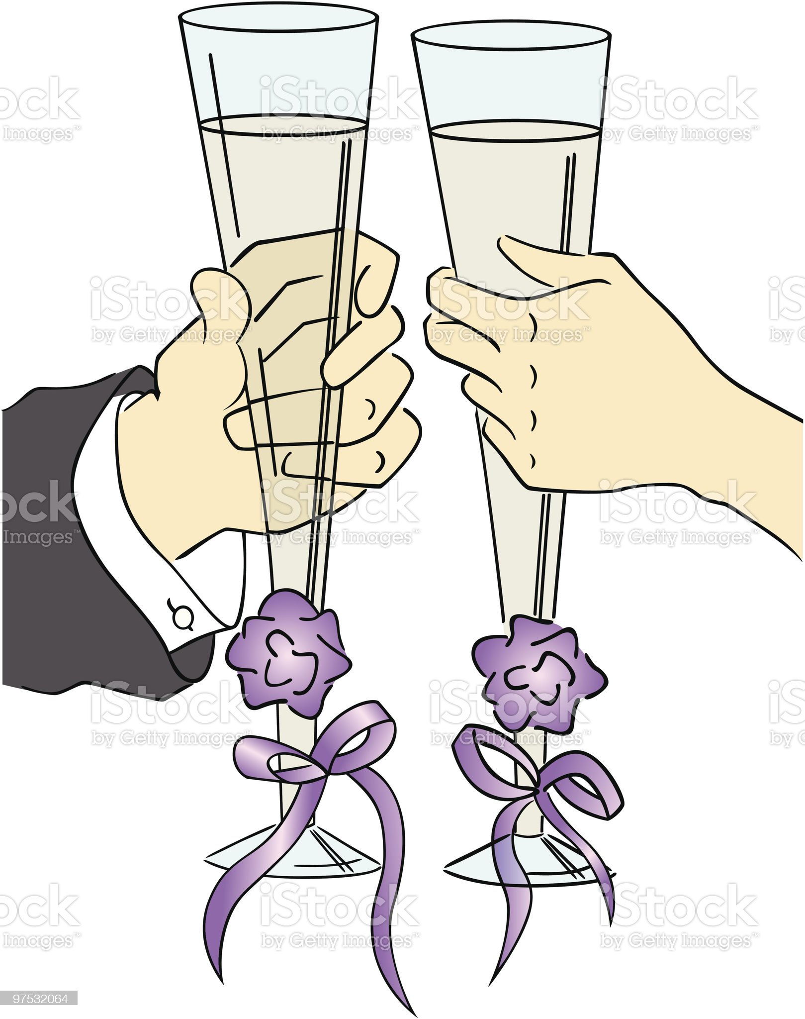 two champagne glasses royalty-free stock vector art