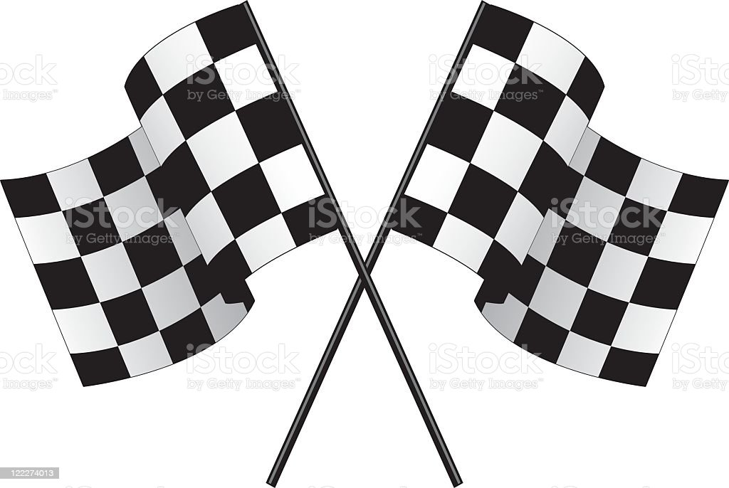 Two checkered race flags crossing over each other vector art illustration