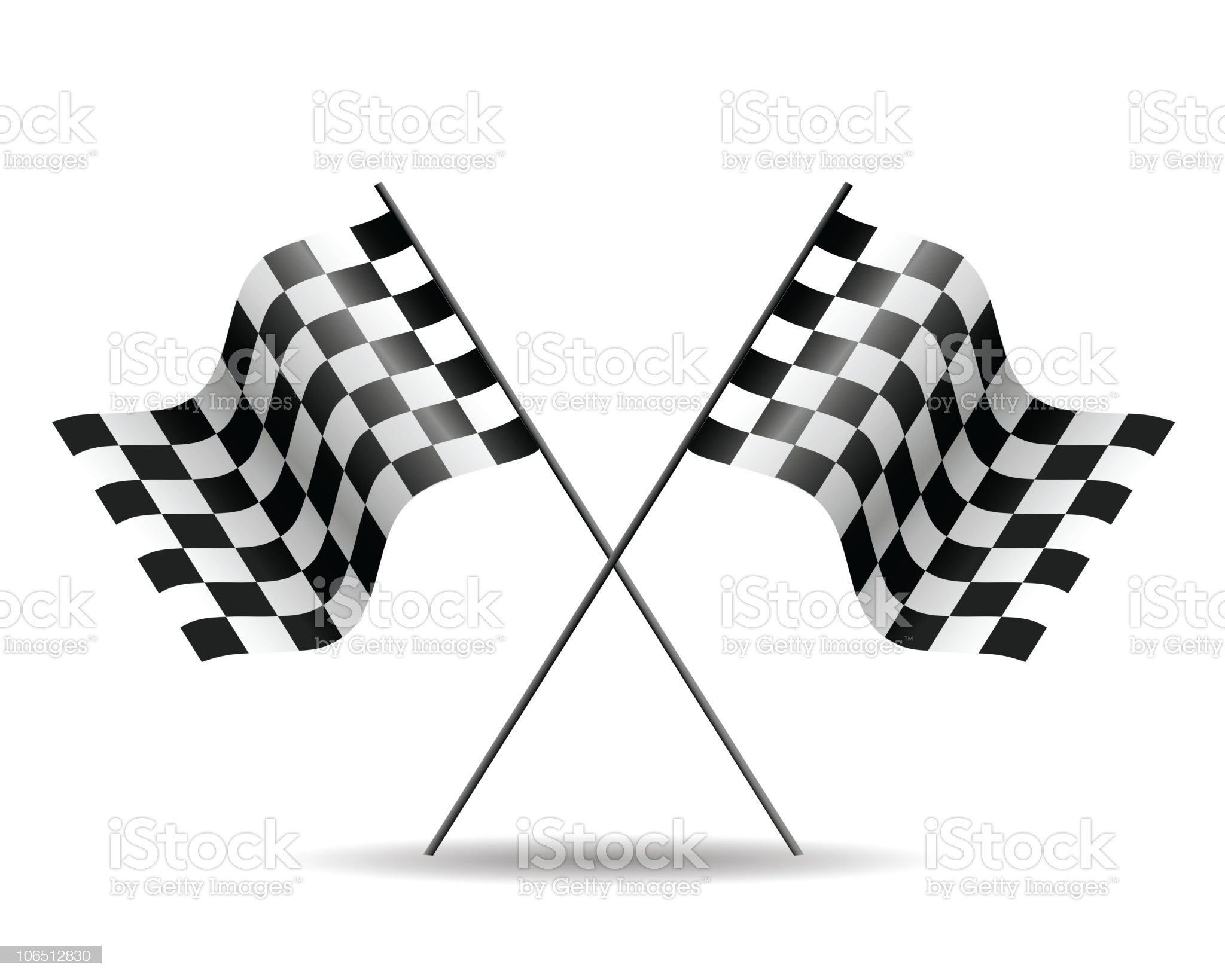 Two checkered race flags with the poles crossed royalty-free stock vector art