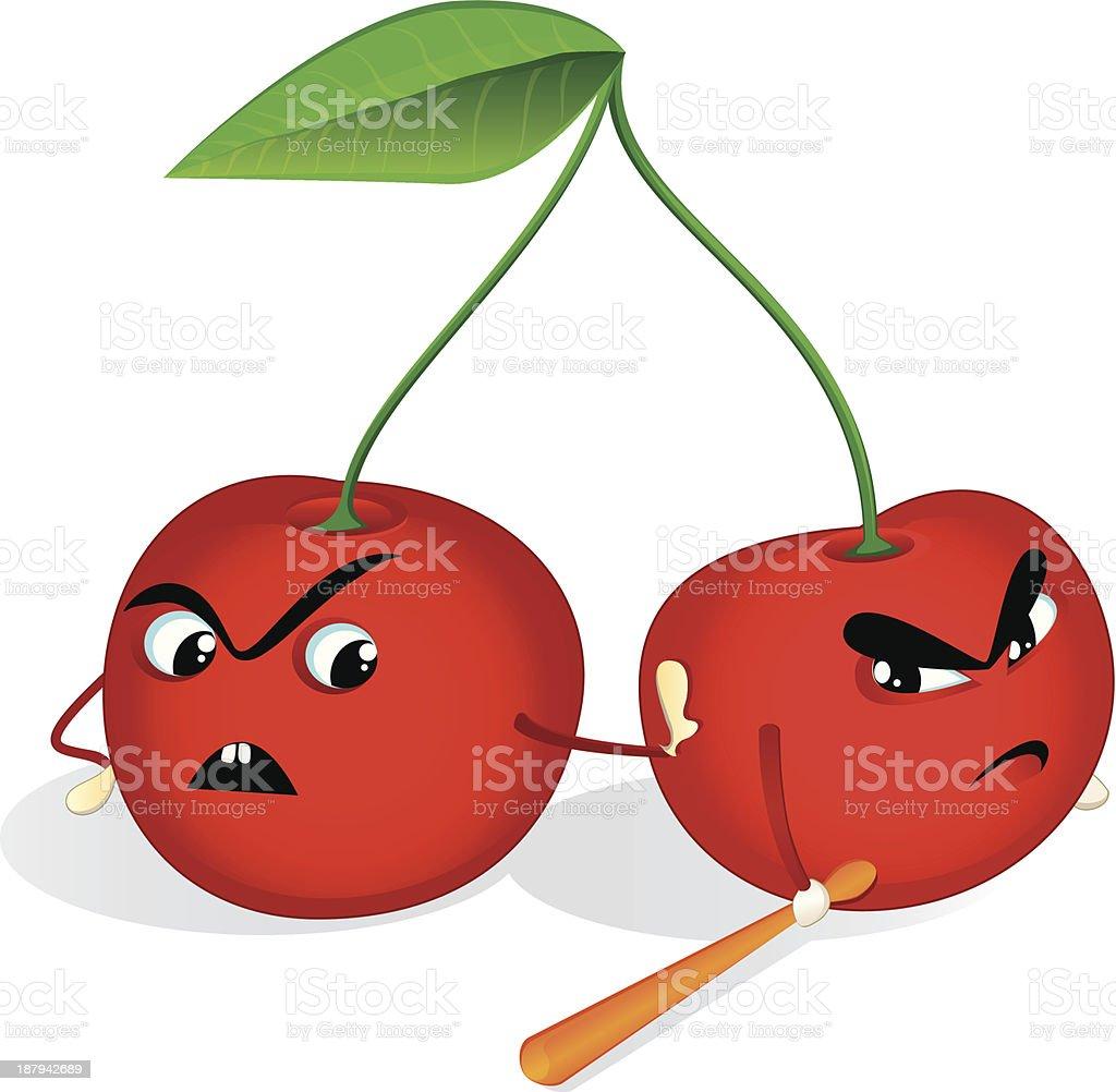 Two cherries royalty-free stock vector art