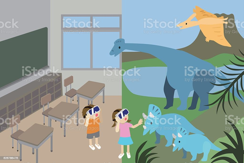 Two children experiencing VR headsets vector art illustration