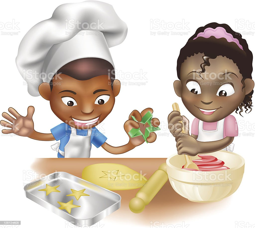two children having fun in the kitchen vector art illustration