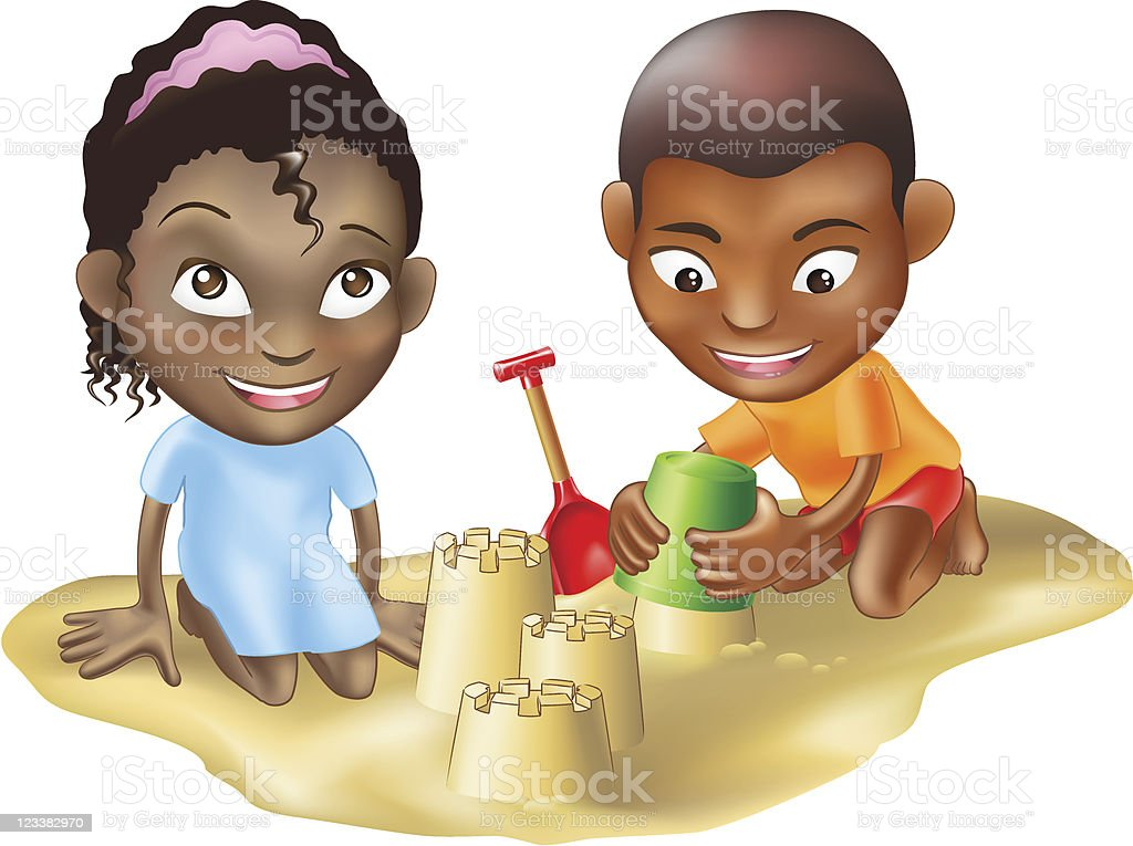 two children playing on the beach royalty-free stock vector art