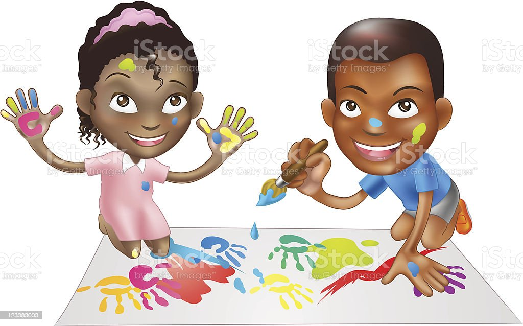 two children playing with paint royalty-free stock vector art