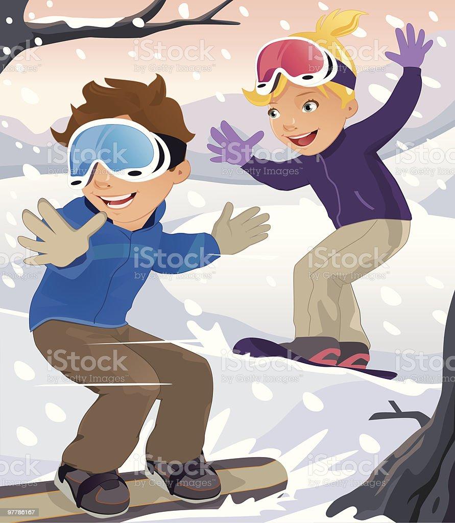 Two Children Snowboarding in Winter vector art illustration