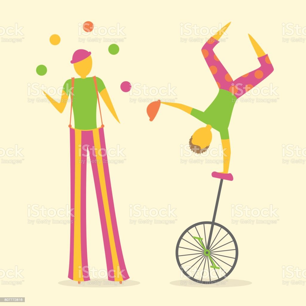 Two circus or street performers, one stilt walker juggling and one doing a handstand on a unicycle. vector art illustration