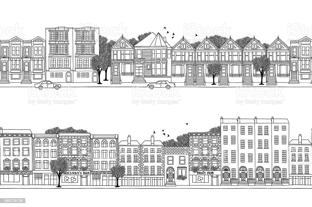 Two city banners with Victorian style houses vector art illustration