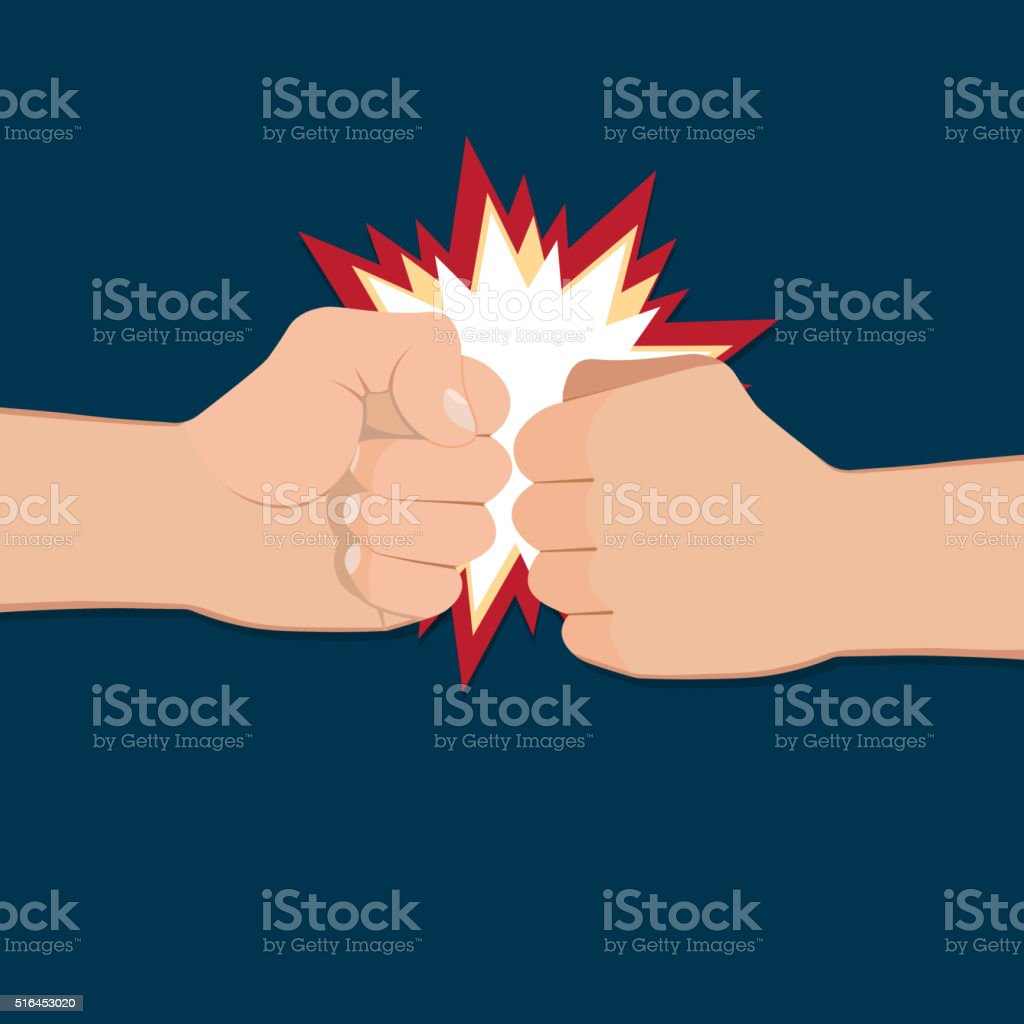 Two clenched fists in air punching vector art illustration