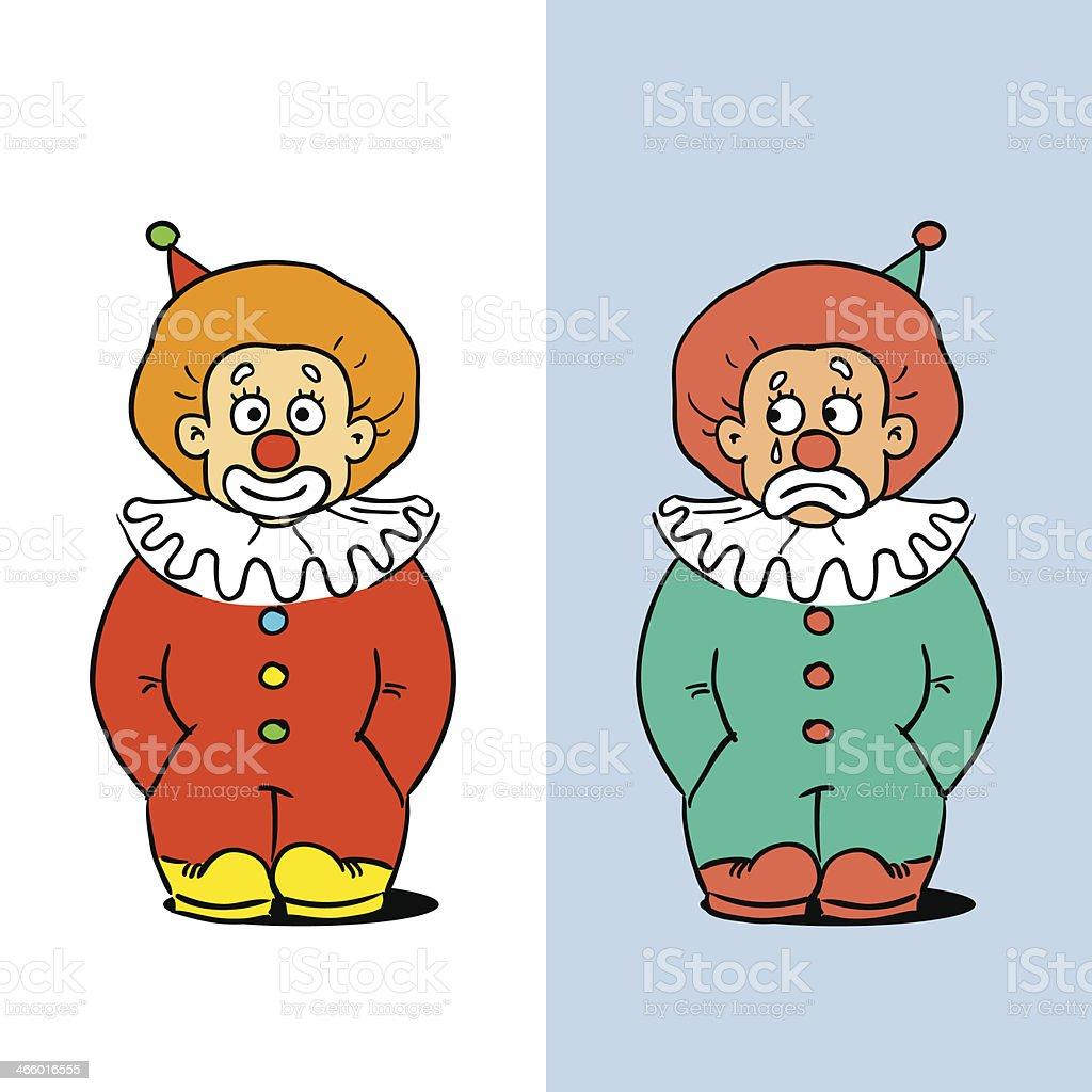 Two Clowns vector art illustration
