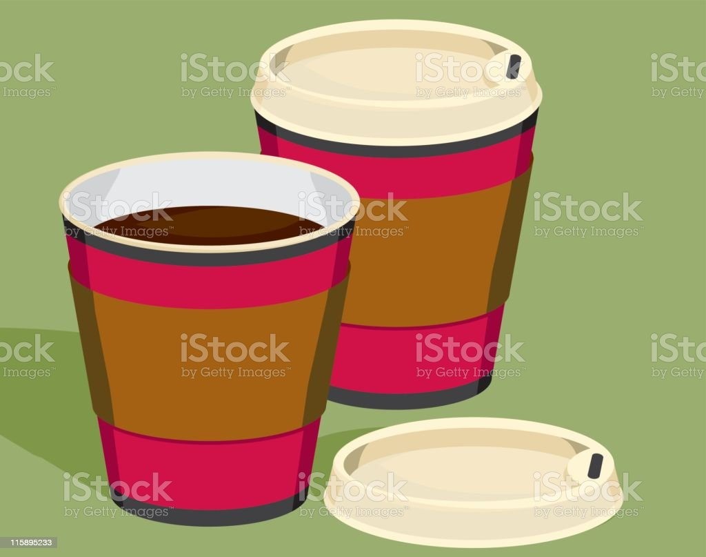 Two Coffees to Go royalty-free stock vector art