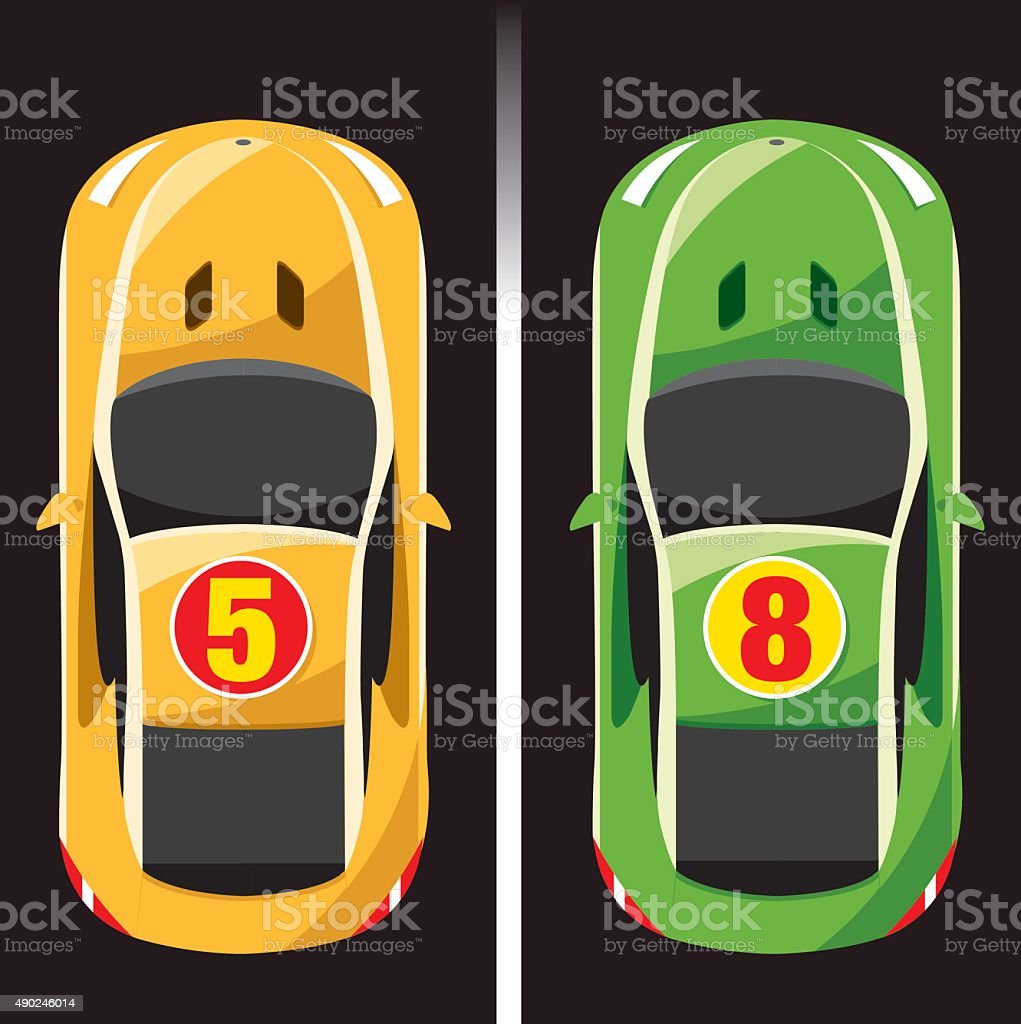 two color race car vector art illustration