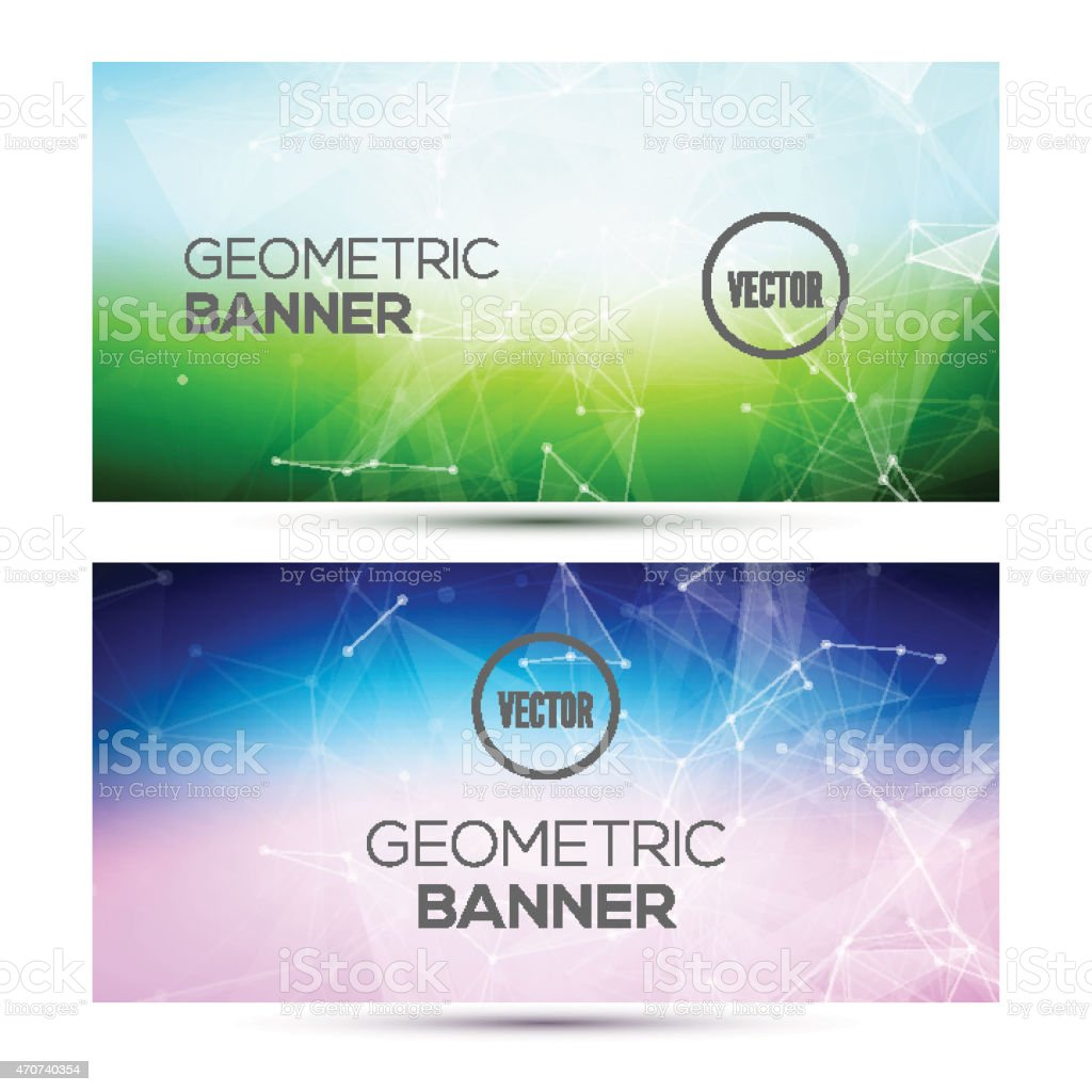Two colorful horizon abstract geometrical polygons banners  vector art illustration