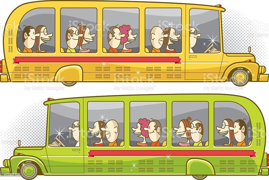 two colors retro bus vector art illustration