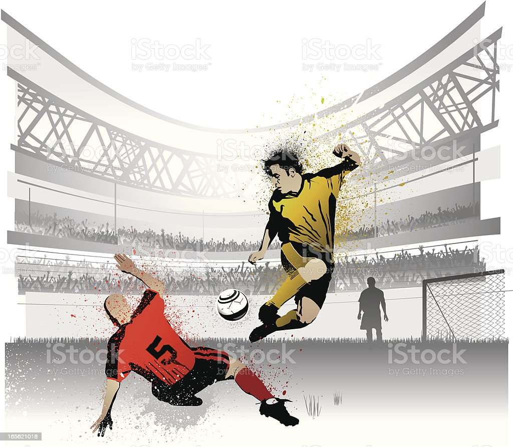 Two Competing Soccer Players in Stadium royalty-free stock vector art