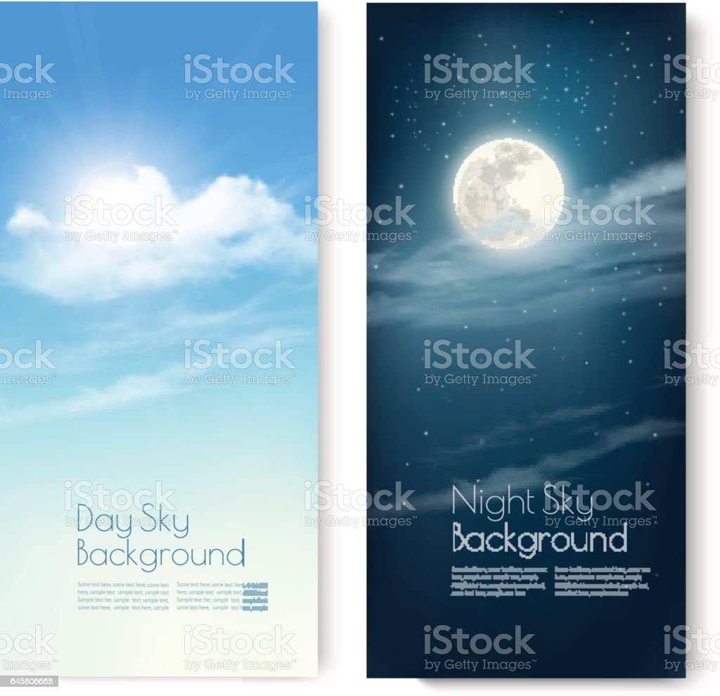 Two contrasting sky banners - Day and Night. Vector. vector art illustration