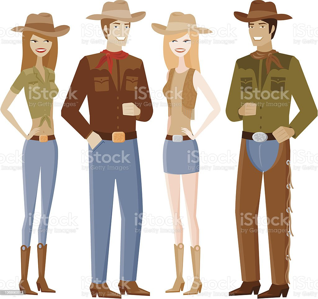 Two Couples in Cowboy Outfits vector art illustration