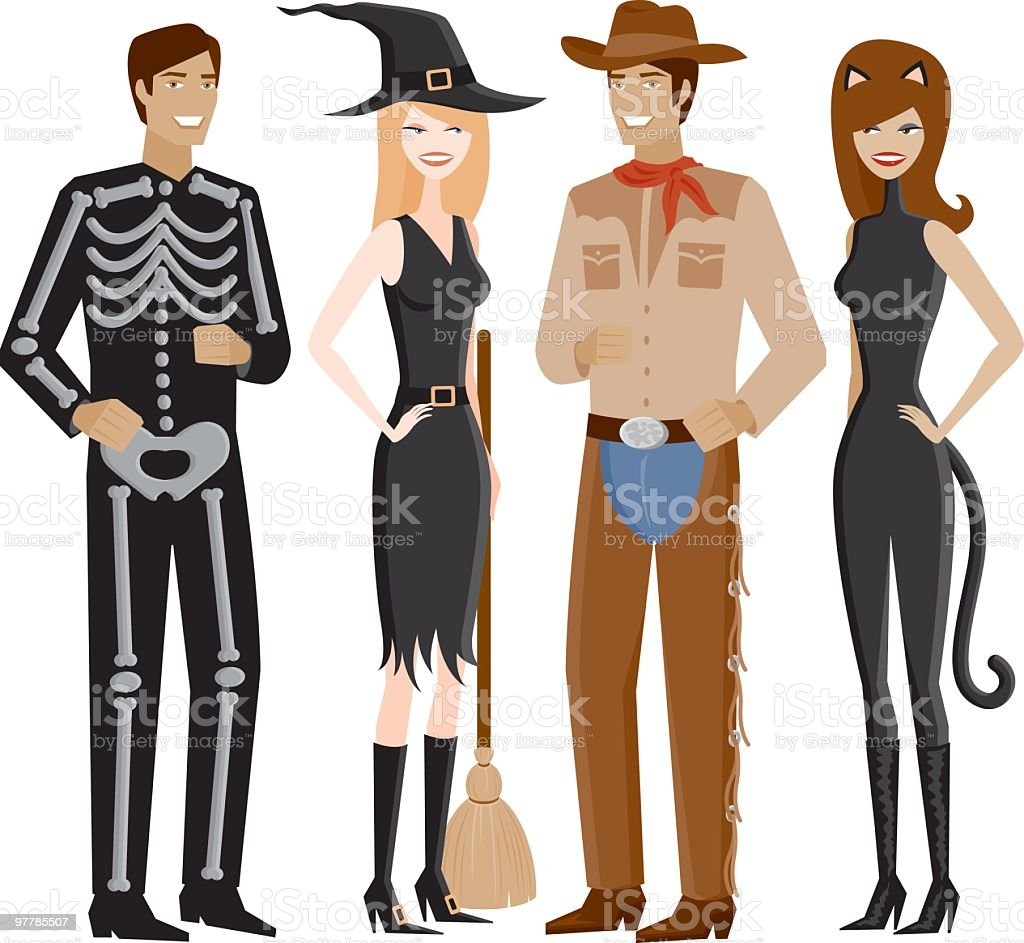 Two Couples In Halloween Costumes vector art illustration