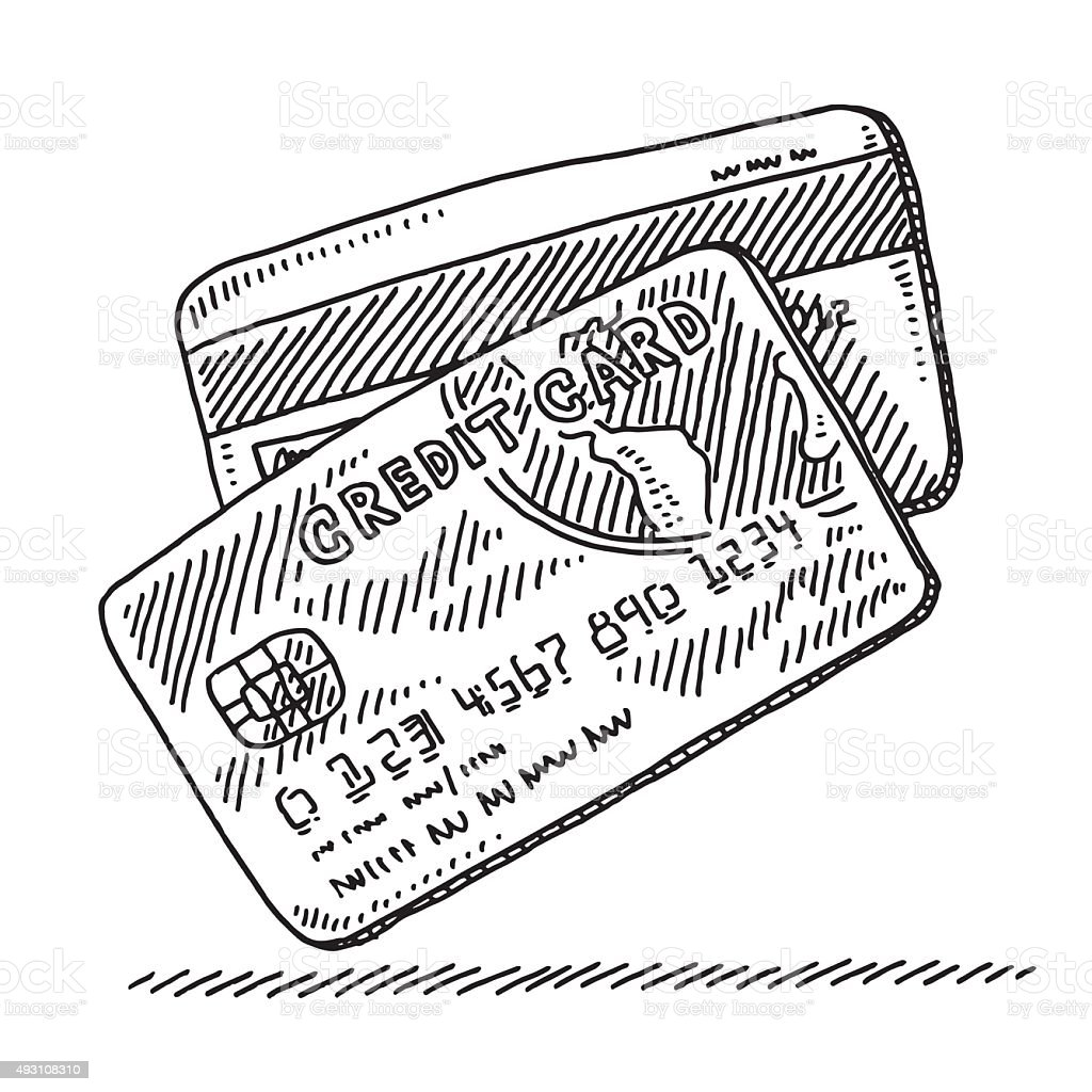 Two Credit Cards Front And Back Drawing vector art illustration