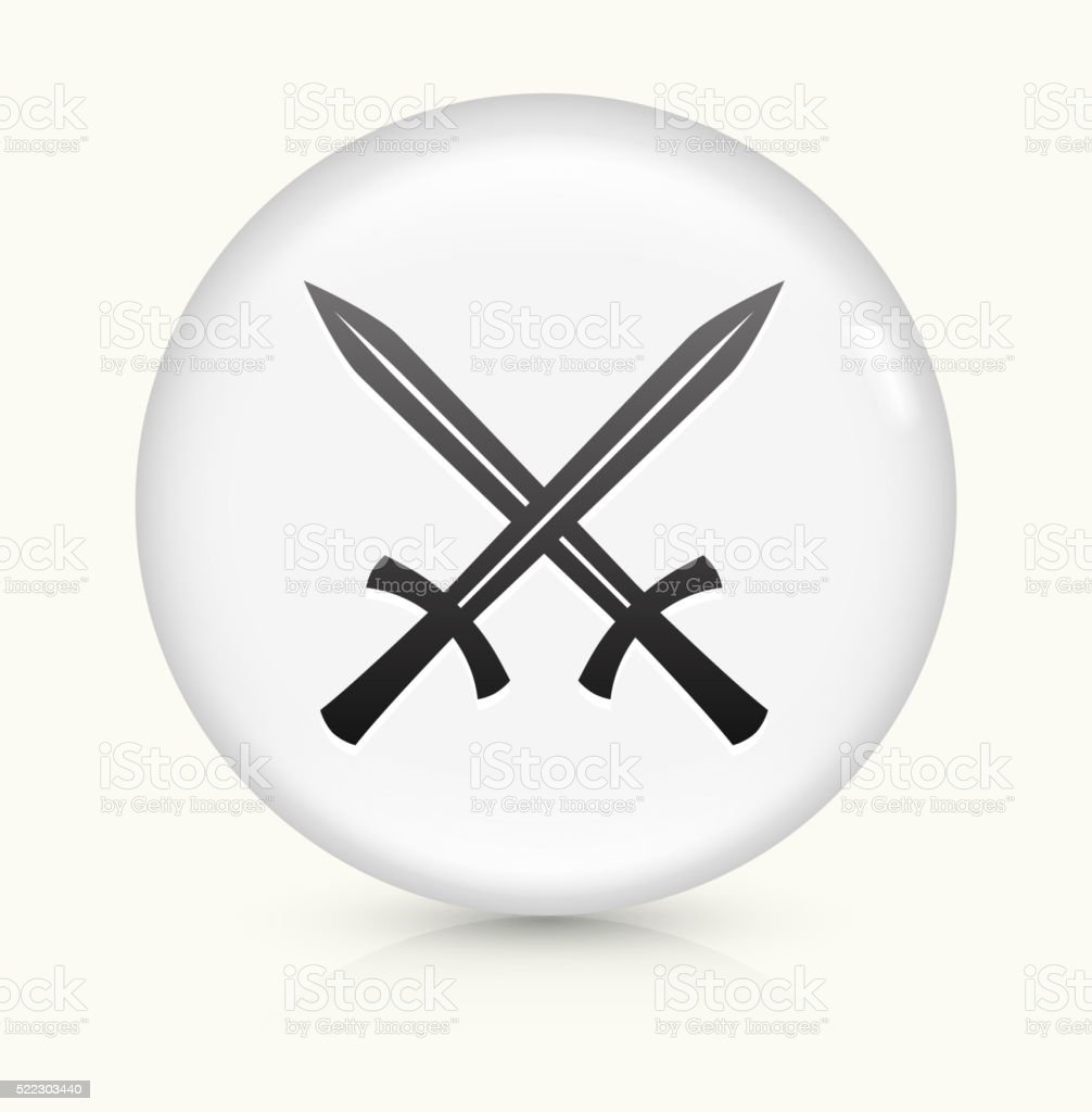 Two Crossed Swords icon on white round vector button vector art illustration