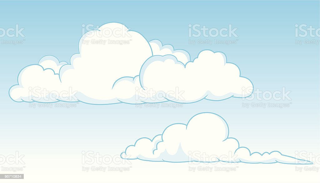 Two cumulus clouds royalty-free stock vector art