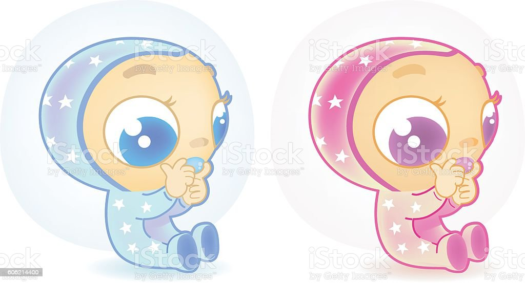 two cute babies vector art illustration