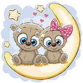 Two Cute Bears on the moon