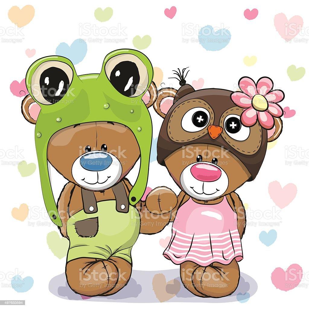 Two Cute Bears vector art illustration