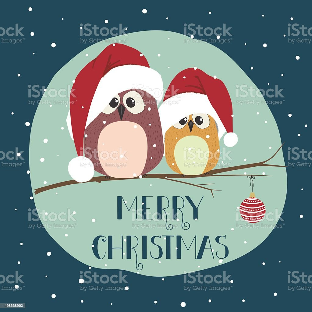 Two cute birds in santa clothes sitting on the branch vector art illustration
