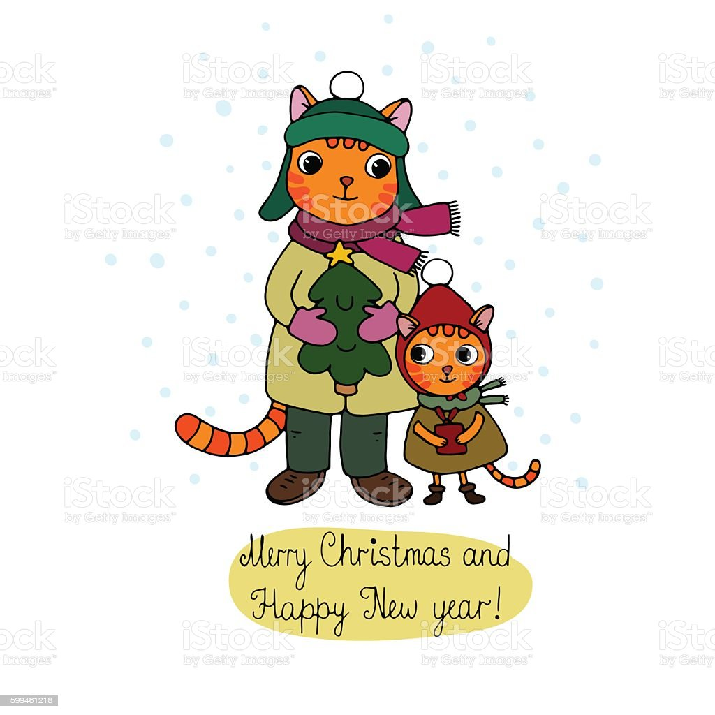 Two cute cartoon cat, tree and a gift. vector art illustration