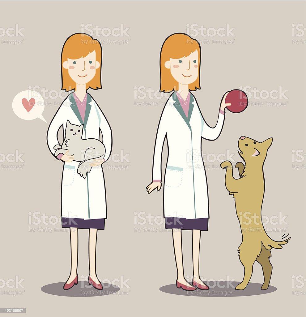 Two cute cartoon veterinarian royalty-free stock vector art